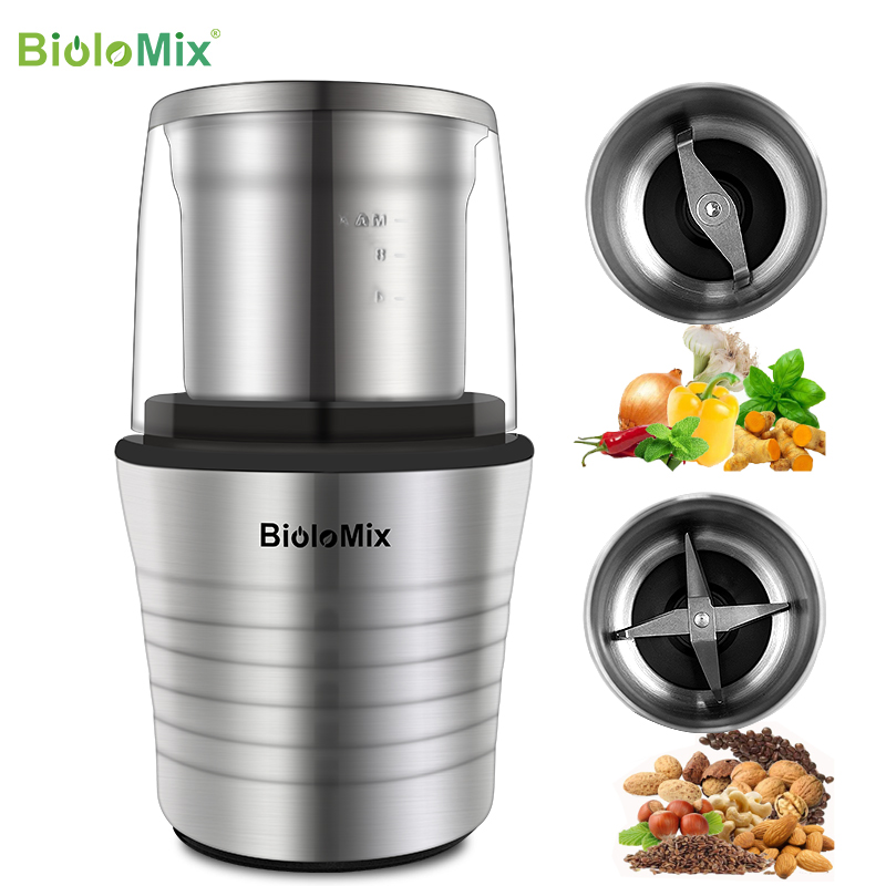 BioloMix 2 in 1 Wet and Dry Double Cups 300W Electric Spices and Coffee Bean Grinder Stainless Steel Body and Miller Blades