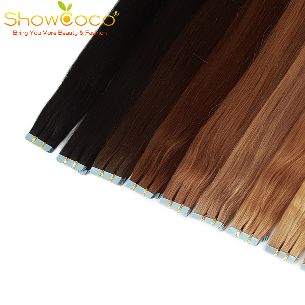 ShowCoco Tape In Real Human Hair Extensions Machine-made Remy Invisible Double Sided Blue Tape Dark Colors For Thin Hair