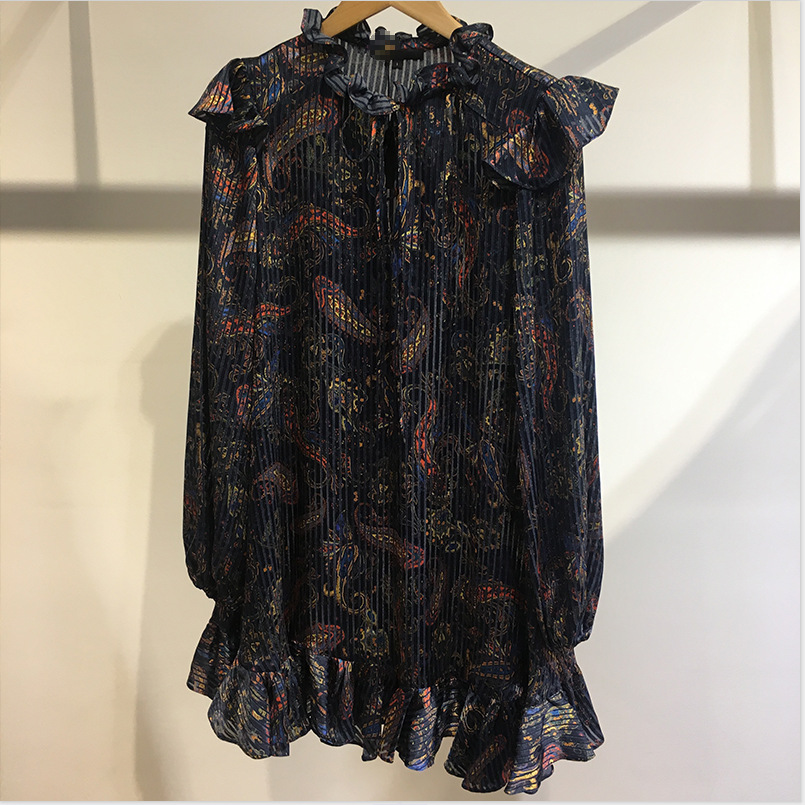 Women Dress 2019 Autumn / Winter New V-neck Paisley Printed Ruffled  Long Sleeve Casual Women's Dress Fashion  Mini Dresses