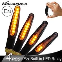 Motosiklet dönüş sinyalleri LED ışık E24 akan su flaşör yanıp sönen gösterge bükülebilir kuyruk dur sinyal Honda/kawasaki