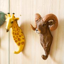3D Animal Giraffe Deer Head Hanging Hook Wall Mount Decorative Coat Hanger Rack