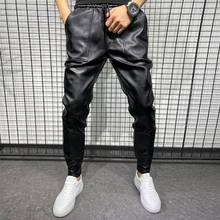 New Arrivals Winter Thick Warm PU Leather Pants Men Clothes 2021 Simple Big Pocket Windproof Casual Trousers Black Plus Size 40