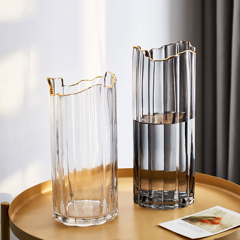 Nordic Modern Home Decoration Living Room Accessories Irregular Glass Vase Transparent Flower Arrangement Plant Pot Hydroponics