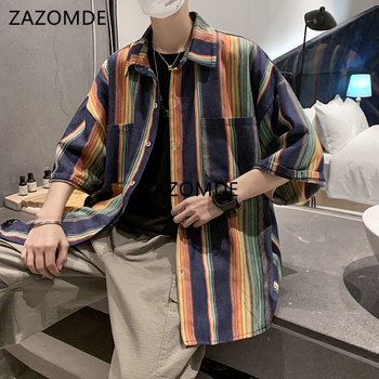 ZAZOMDE Summer New Youth Fashion  Striped Contrast Color  half Sleeve Shirt Casual Loose Buttons Shirt  Loose Clothes Men Oversi contrast vertical striped shirt