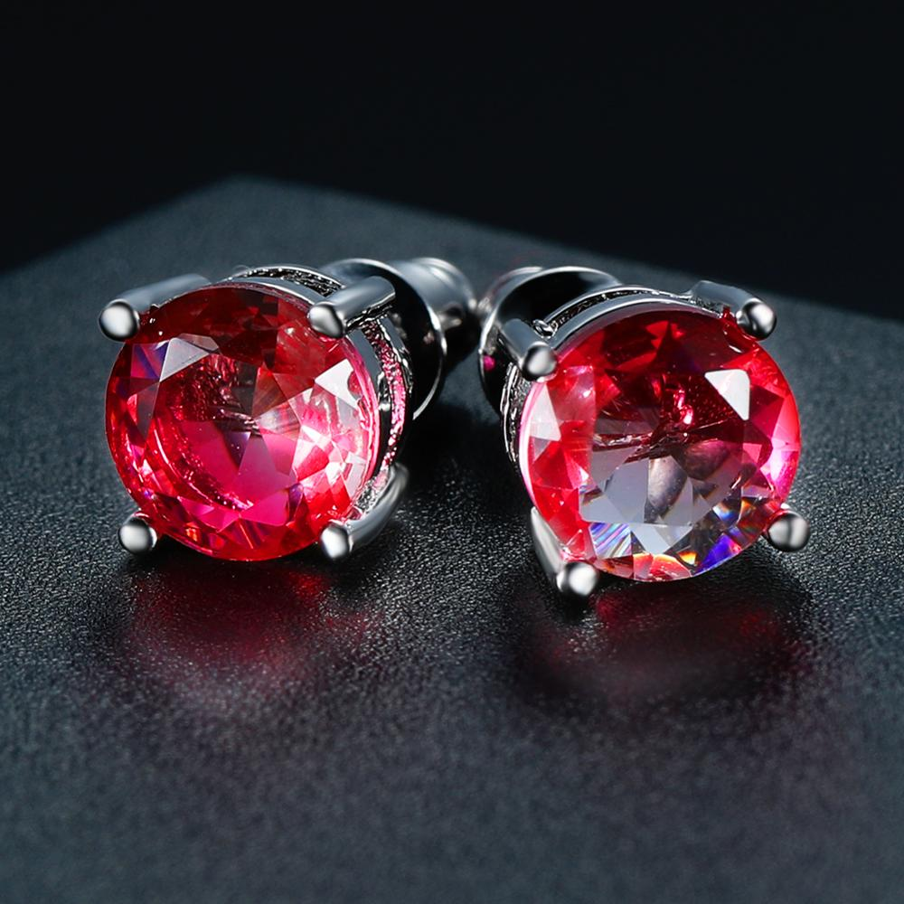 Round Mystic Fire Crystal Stone Stud Earrings For Women Men White Gold Rainbow Blue Green Zircon Double Earrings Wedding