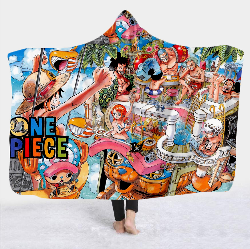 New anime one piece Cartoon Paintings Blanket Blanket Hooded 3D full printing Wearable Blanket Adult men women Blanket style-2