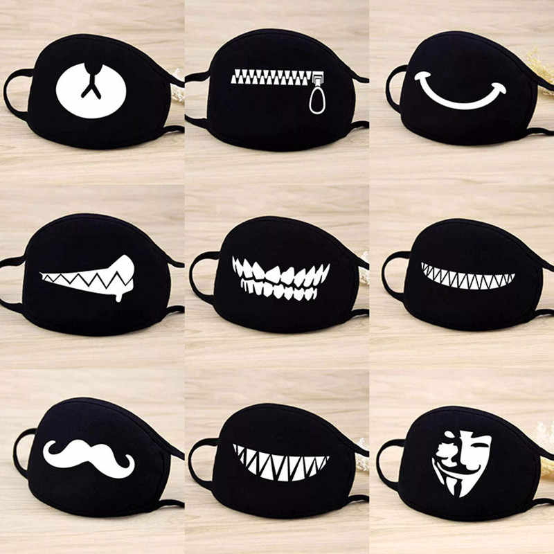 1pcs Unisex Cute Cartoon Face Mask Teeth Pattern Anti-bacterial Dust Winter Mouth Mask Emotiction Masque Kpop Masks Face
