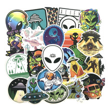 50Pcs/Set Alien Graffiti Stickers ET UFO Cartoon Stickers Gifts Toys for Children DIY Skateboard Laptop Car Phone