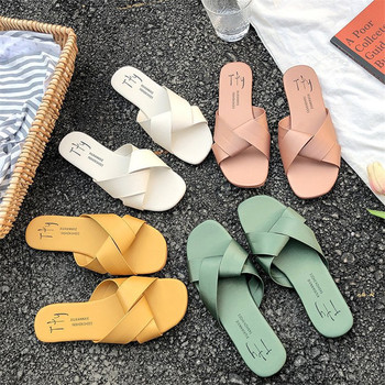 Women Slipper Round Toe Green Yellow Colors  Summer Beach Slides Flip Flops Outdoor casual sewing Shoes Woman Solid Slides 4