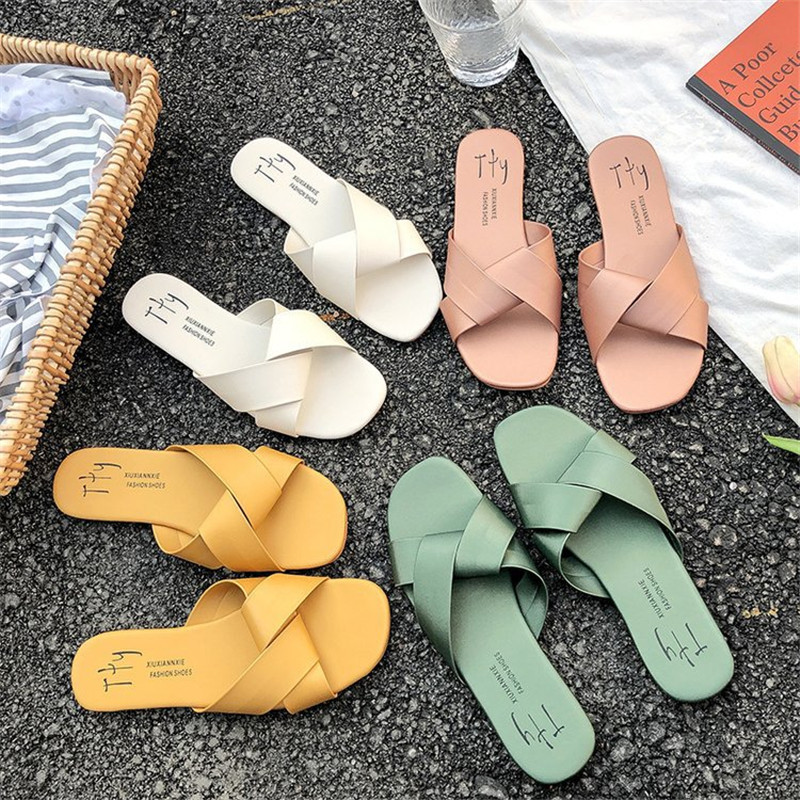 Women's Slippers Summer Beach  Round Toe Green Yellow Colors Summer Beach Slides Flip Flops Outdoor Casual Solid Slides