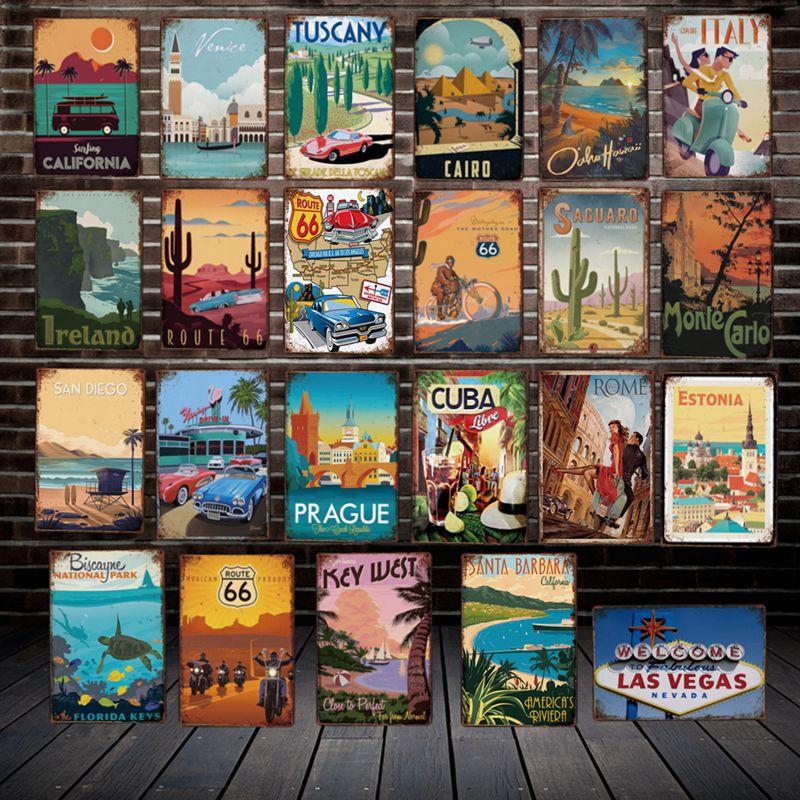 Дорожный металлический знак Mike86, винтажный Ретро-постер на заказ, Венеция, Ирландия, Каир, железная живопись, паб, магазин, городской постер, ...