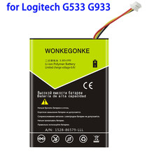 Wonkegonke 2000mah 533-000132 para a bateria de logitech g533 g933