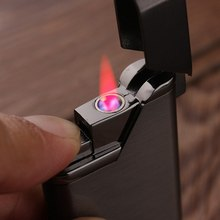 Creative High Temperature Red Flame Windproof Inflatable Cigarette Lighter Metal Body Ultra-thin Personality Butane Gas