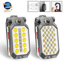 Zhiyu led cob recarregável trabalho magnético luz lanterna portátil à prova dwaterproof água acampamento lanterna ímã design com exibição de energia