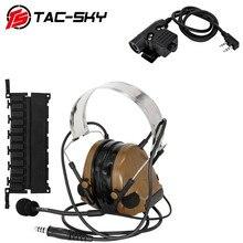 TAC SKYทหารWalkie Talkieอะแดปเตอร์KENWOOD U94 PTT + COMTAC IIIซิลิโคนEarmuffsลดเสียงรบกวนรถกระบะชุดหูฟังยุทธวิธีCB