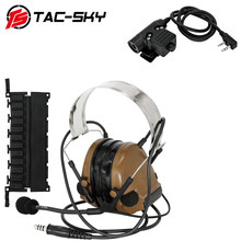 TAC SKY military walkie talkie adapter KENWOOD U94 PTT + COMTAC III silicone earmuffs noise reduction pickup tactical headset CB