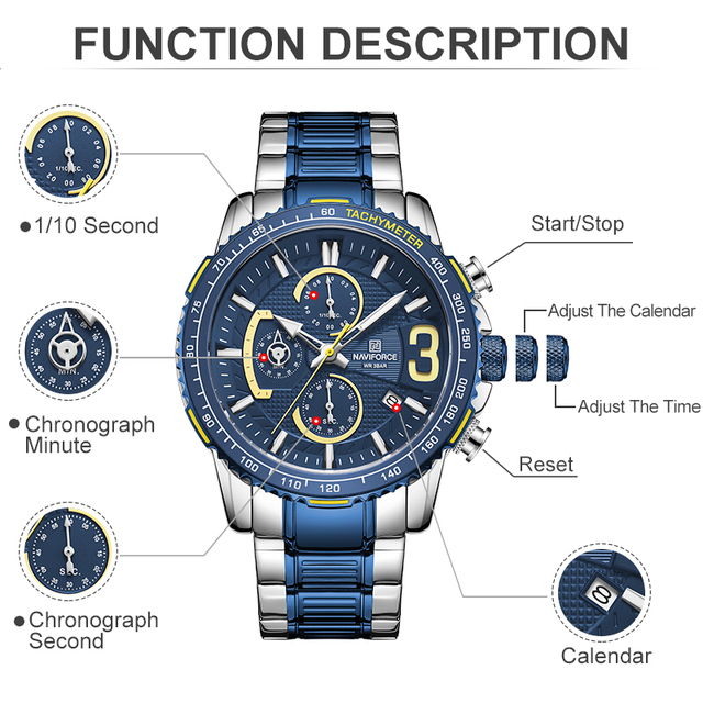 NAVIFORCE Mens Quartz Multifunction Chronograph Sports Watches Fashion Waterproof Military Top Luxury Stainless Steel Wristwatch 3