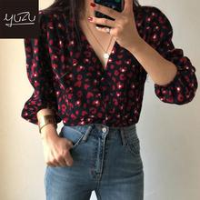 цена на Sexy V Neck Red Peach Heart Pattern Print Blouse Bubble Sleeve Top 2020 Korean Style Womens Single Breasted Office Shirts