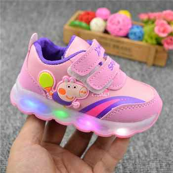 Peppa Schwein Kinder Schuhe Licht Mädchen Led Schuhe Kinder Turnschuhe Cartoon Casual Kleinkind Peppa Schuhe Infant Baby Outdoor Schnalle Schuhe