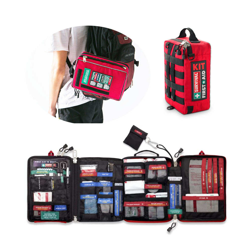 Oversize Survival First Aid Kit Emergency Trauma Bag Medical Kit With Labeled Compartments For Boat Car Camping Hiking Travel