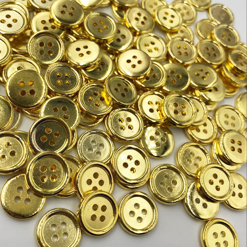 50pcs Gold Plastic Buttons 12mm Sewing Craft 4 Holes PT174