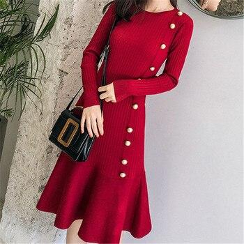 Korean Fashion Women Sweater Dress Elegant Bodycon Plus Size Winter Dresses 2019 Vestido Woman Pleated