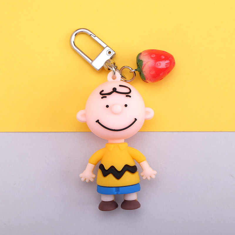 New INS Cute Cartoon Charlie Brown Key Chain For Ladies Creative Car Bag Charms Accessories Anime Keychain Boyfriend Gifts