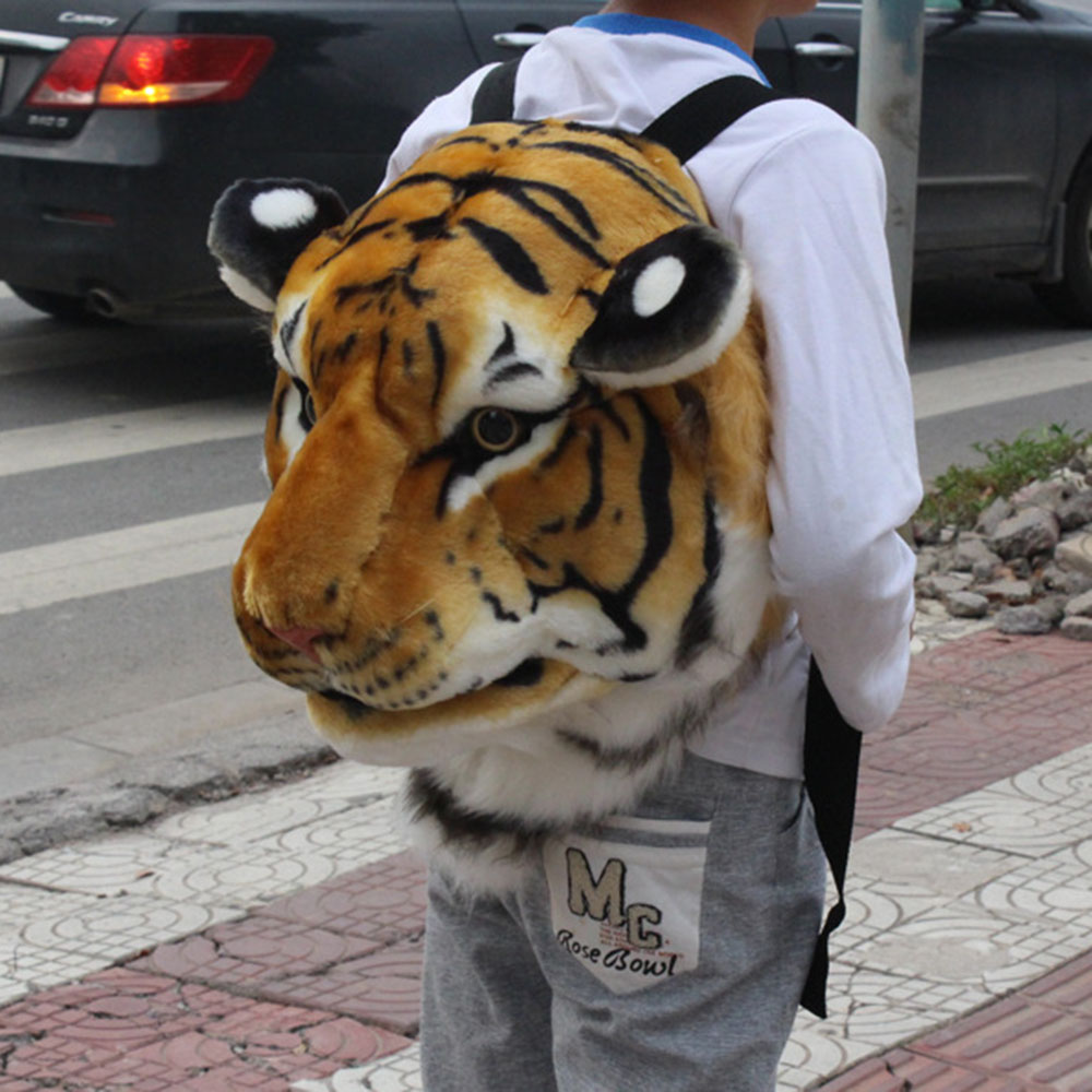 Cute Animal Women Backpack Plush 3D Tiger Lion Men Bookbag Women Shoulder Bag Couple Funny Travel Bags Small Backpack Back Pack