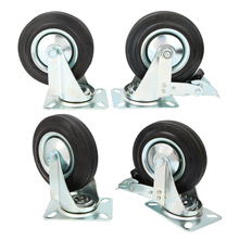 4pcs 5 Inch Light Duty Black Rubber Caster Wheel Trolley Furniture Roller Castor Office Chair Caster 4pcs a set of heavy duty 125x27mm rubber swivel castor wheels trolley caster brake 100kg replacement fixed caster for diy home