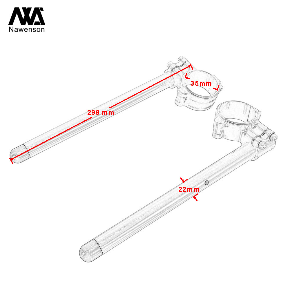 """72 For Honda CR125 1974-1978 NX125 1989-1992 35mm Motorcycle Clip-on Handlebars With 7/8"""" Tubes For CL450/CB500 72-74 CB750K 72-78 (5)"""
