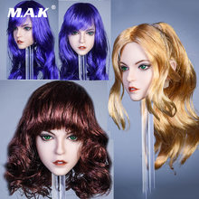 Ymt031 1/6 женская голова машущая Алиса фиолетовые золотые волосы
