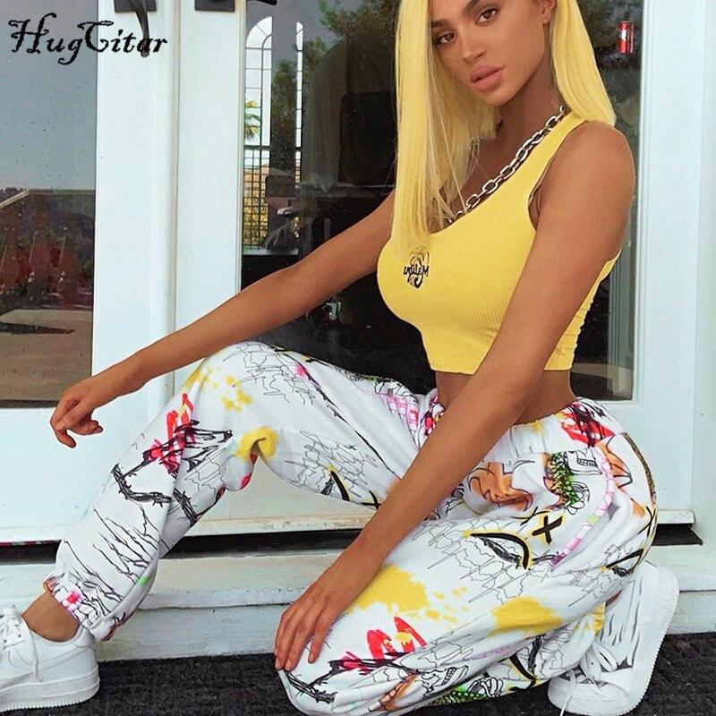 Hugcitar 2019 Print High Waist Casual Cargo Pants Autumn Winter Women Streetwear Sporty Streetwear Outfits Trousers