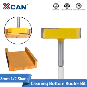 XCAN Cleaning Bottom Router Bit 8mm 1/2 Shank Surface Planing Bits Wood Milling Cutter Tungsten