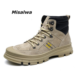 Image 2 - Misalwa Fashion Outdoor Winter Army Boots Mens Military Desert Boots Plush Breathable Working Safty Sneakers Plus Size 38 46