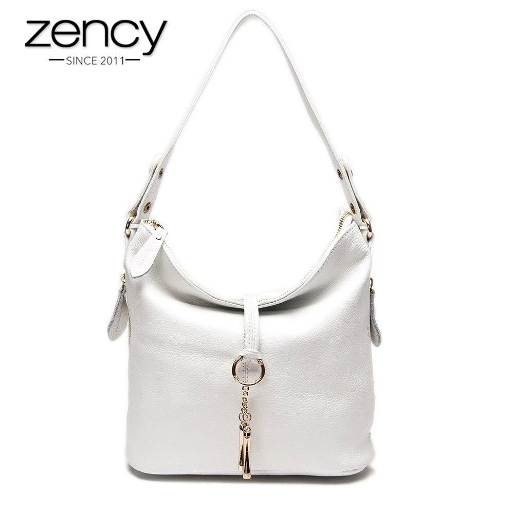 Zency Elegant Women Shoulder Bag 100% Genuine Leather White Hobos Handbag Lady Messenger Purse Charm Lock Decoration