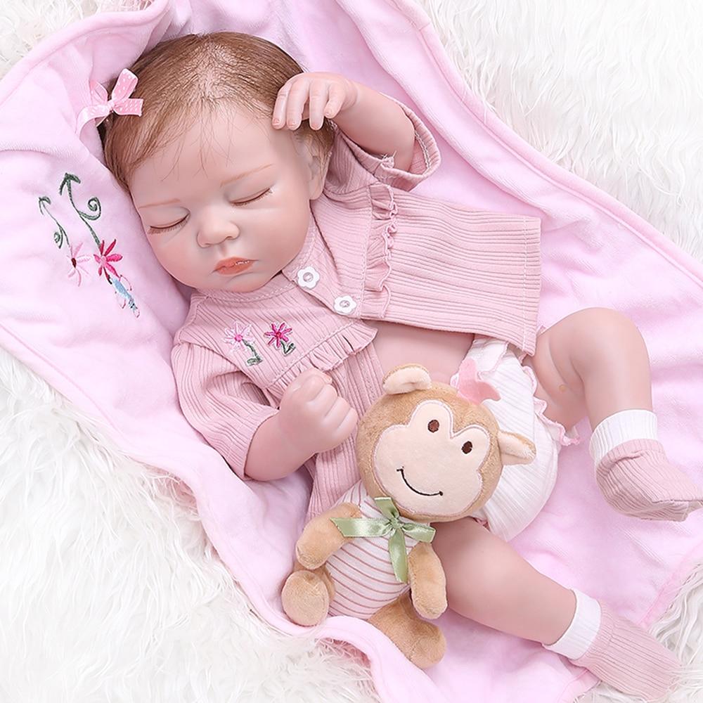49 см полный силиконовый для новорожденных кукла как настоящая bebes reborn мягкая Спящая Девочка Младенцы Близнецы ванны игрушки для ванной дети подарок на день рождения