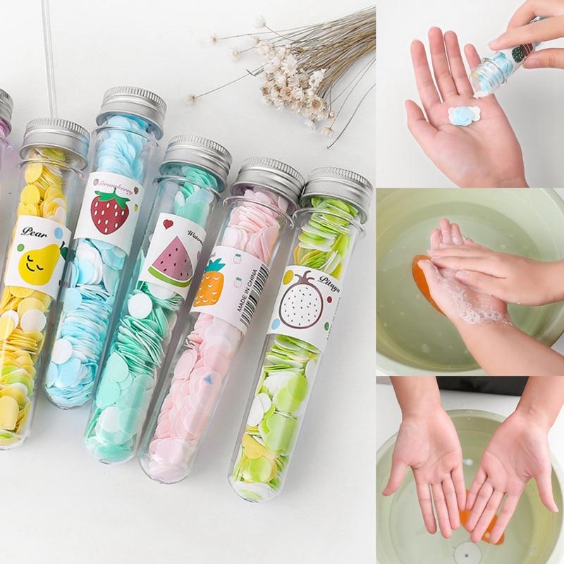 Portable Mini Body Washing Bath Test Tube Confetti Foaming Flower One Time Paper Soap Slice Travel Accessary