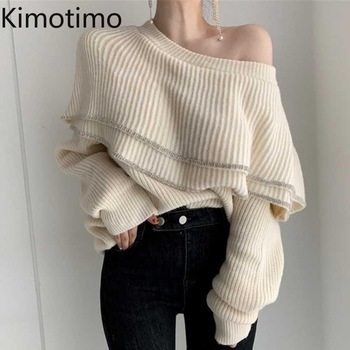 Vintage Ruffles Sweater Women Long Sleeve O Neck Loose Casual Korean Tops Elegant Autumn Sexy Oversize Party Female Sweater 2021 1