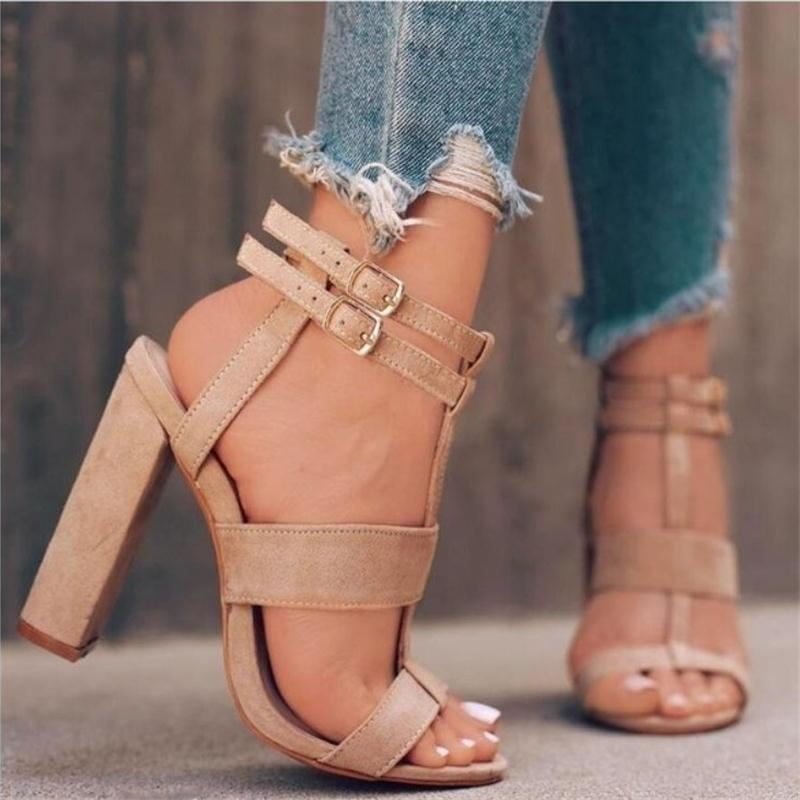 2019 Women's High Heel Sandals Women Summer <font><b>Shoes</b></font> Buckle with Fashion Sandalias <font><b>Sexy</b></font> Party <font><b>Shoes</b></font> <font><b>Large</b></font> <font><b>size</b></font> 35-42 image