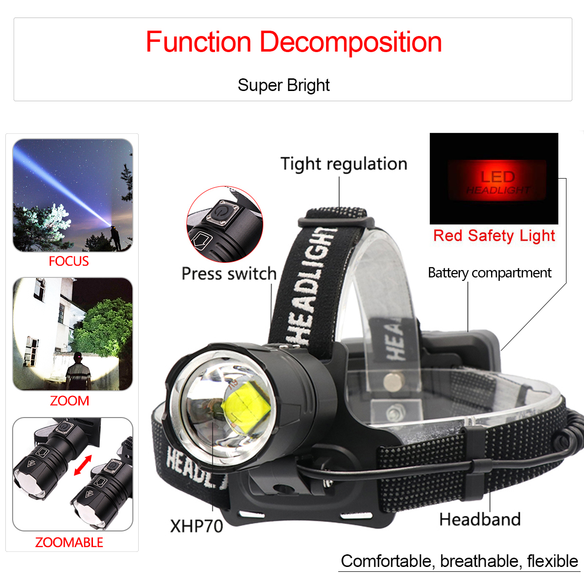Image 2 - 120000LM XHP70.2 Led Headlamp XHP70 Most Powerful Yellow or White Led Headlight Fishing Camping ZOOM Torch Use 3*18650 batteries-in Headlamps from Lights & Lighting
