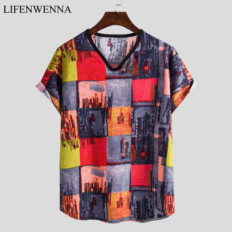 Mannen Hawaii T-shirt Zomer Mode Print Korte Mouwen T-shirts Mannen Casual Linnen Heren Strand T-shirt Man V hals Top Tees M-5XL