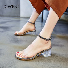 DIWEINI Summer New Lace-Up Women Sandals Open Toed High Heels Sexy Transparent Heel Party Pumps Zapatos Mujer