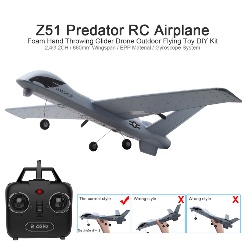 RC Airplane Plane Z51 with 2MP HD Camera or No Camera 20 Minutes Fligt Time Gliders With LED Hand Throwing Wingspan Foam Plane image
