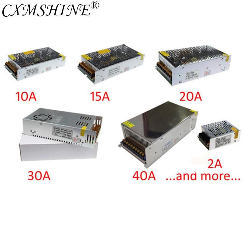 DC 12V LED Strip Driver Power Adapter 1A 2A 3A 5A 10A 15A 20A Switch Power Supply AC110V-220V 24V Transformer Power 60W 78W 120W