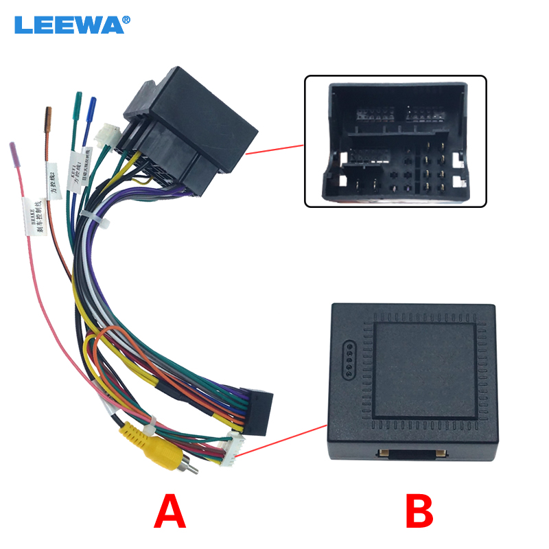 LEEWA Car Audio 16PIN Andriod Player Power Calbe Adapter With Canbus Box For Volkswagen Golf 7 Skoda Stereo Plug Wiring Harness