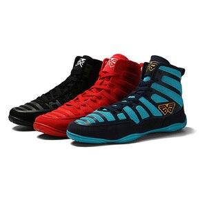 Мужские боксерские кроссовки USHINE, профессиональная обувь для борьбы, резиновая подошва, дышащие, на шнуровке, тренировочные боевые ботинки