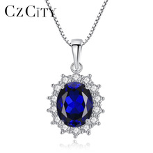 CZCITY Elegant Oval Princess Diana William Sapphire Pendant Necklace for Women 100% 925 Sterling Silver Charms Jewelry