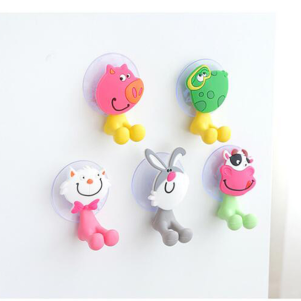 Cute Animal Silicone Toothbrush Holder PVC Suction Cup Home Set Wall Bathroom Hanger Suction Durable Home Bathroom Accessories