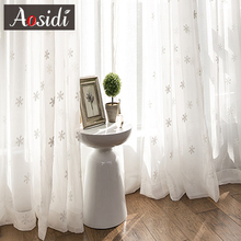 Embroidery Curtains Living-Room Christmas Drapes Voile Bedroom Kitchen White Tulle
