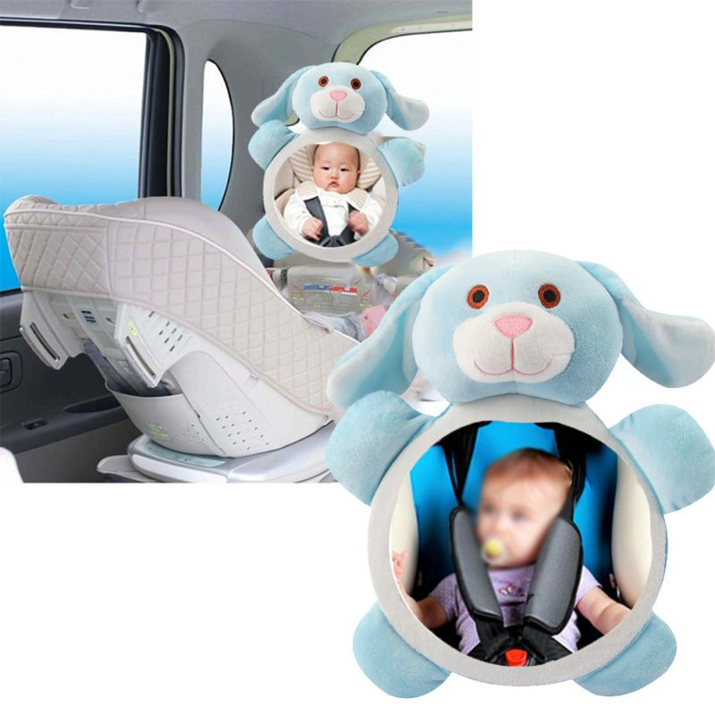 Vehicle Car Baby Safety Seat Rear Facing View Mirror Child Observation Shatterproof Plush Animal Shape Funny Mirrors